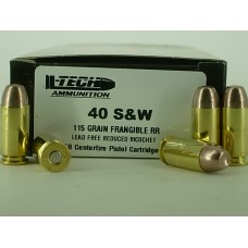 40 S&W 105gr. Frangible Flat Point [Bag of 50] On Once-Fired Nickle Brass