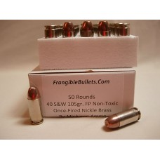 40 S&W 105gr. Frangible Flat Point [Box of 50] on Once-Fired Nickle-Brass