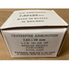 7.62x39 122gr. HP 2 Boxes of 20 rounds - 40 rounds